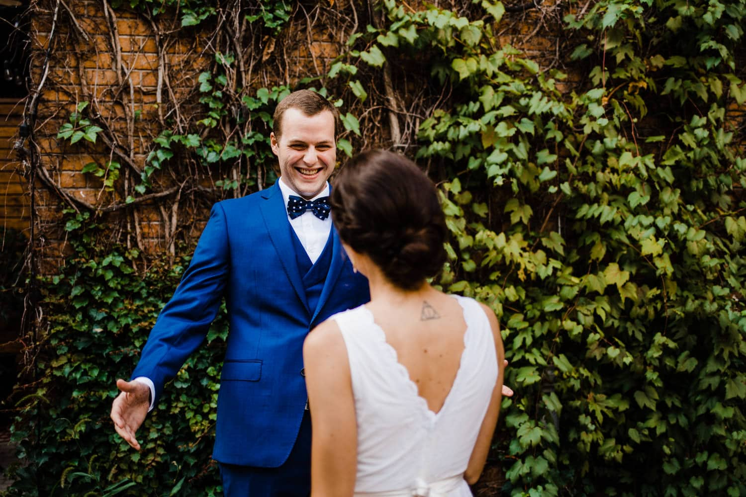 groom sees his bride during first look - ottawa wedding photographer - carley teresa photography