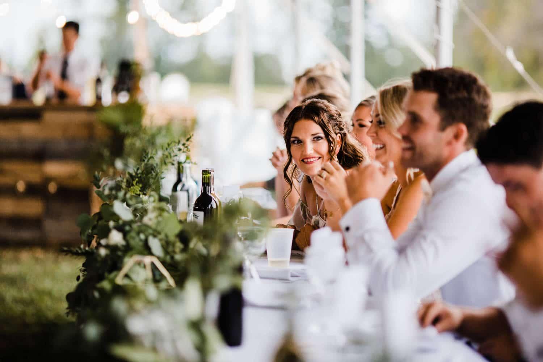 bridesmaid reacts during speeches - ottawa wedding photographer - carley teresa photography