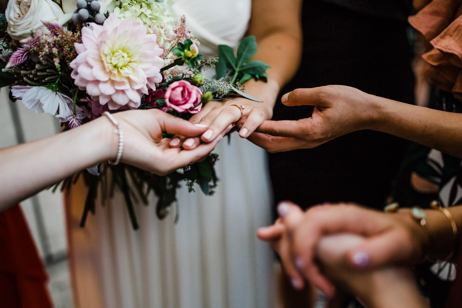 ladies check out bride's new ring - ottawa wedding photographer - carley teresa photography
