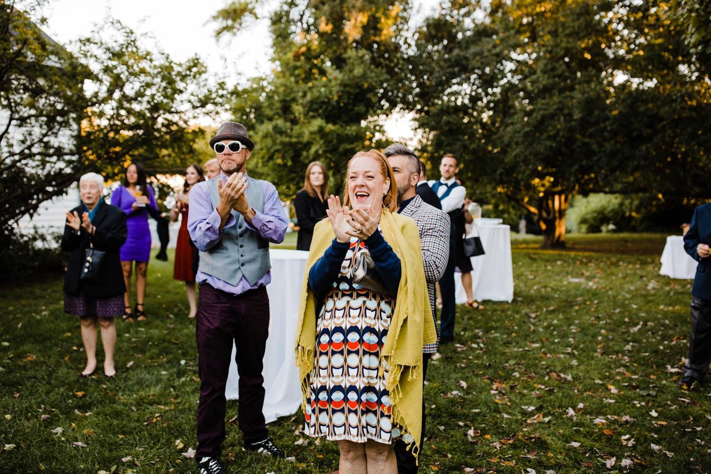 guests react during wedding reception - ottawa wedding photographer - carley teresa photography