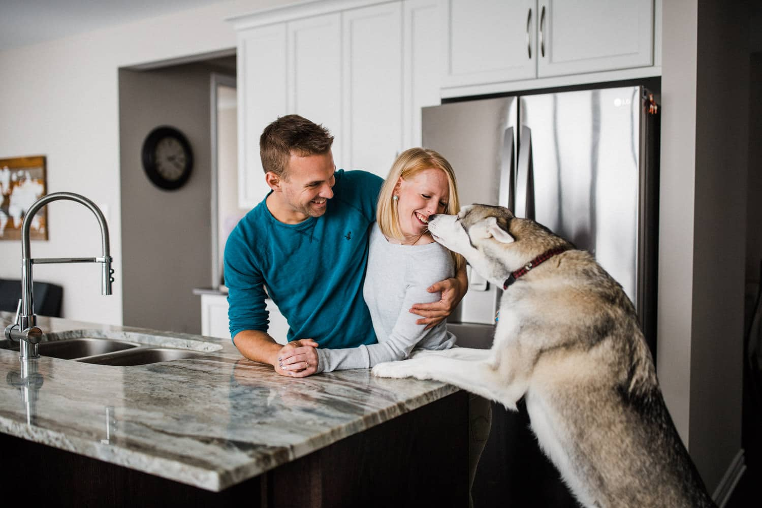 husky dog leans up on kitchen countertop to kiss owner - at home engagement