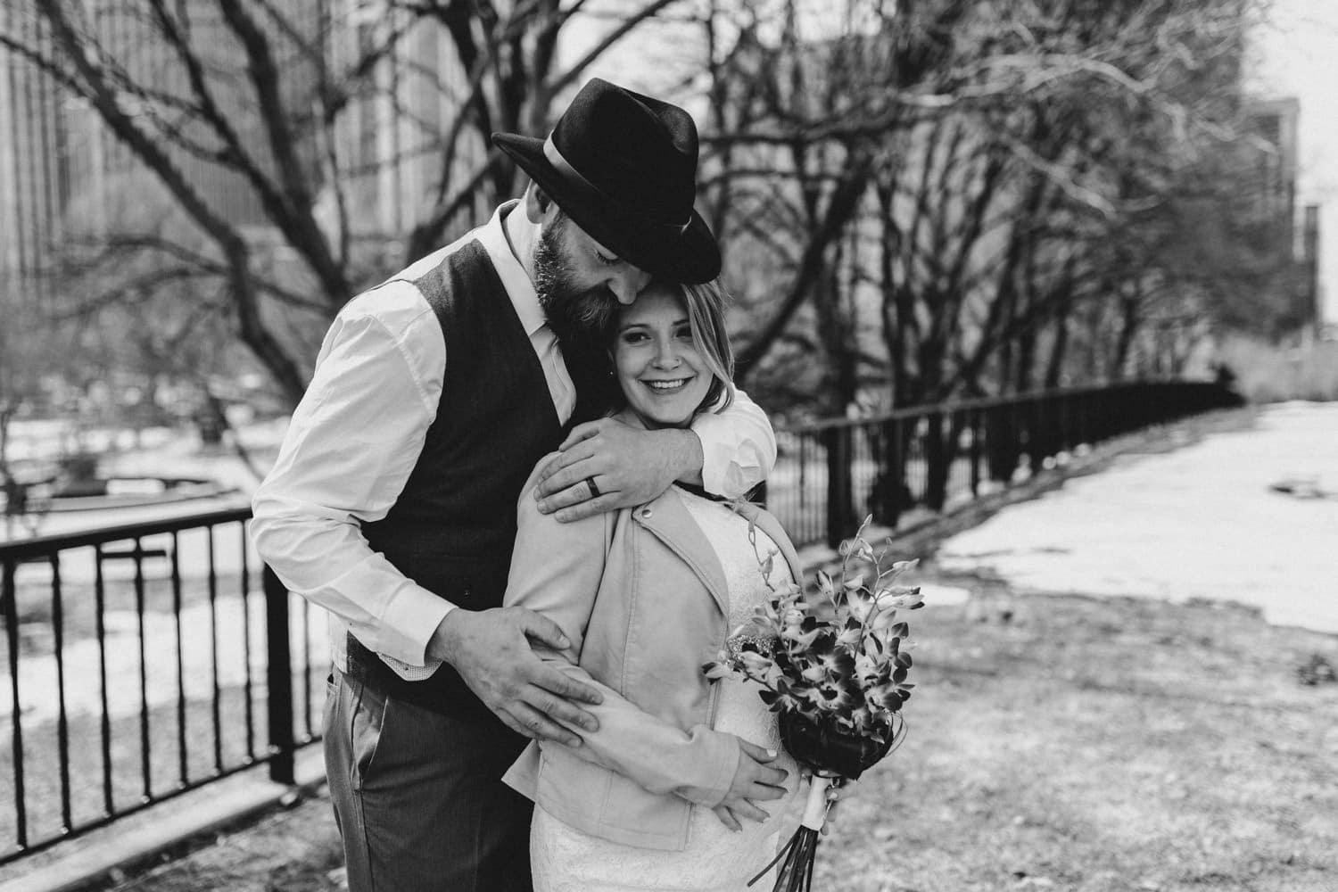 black and white portrait downtown ottawa wedding