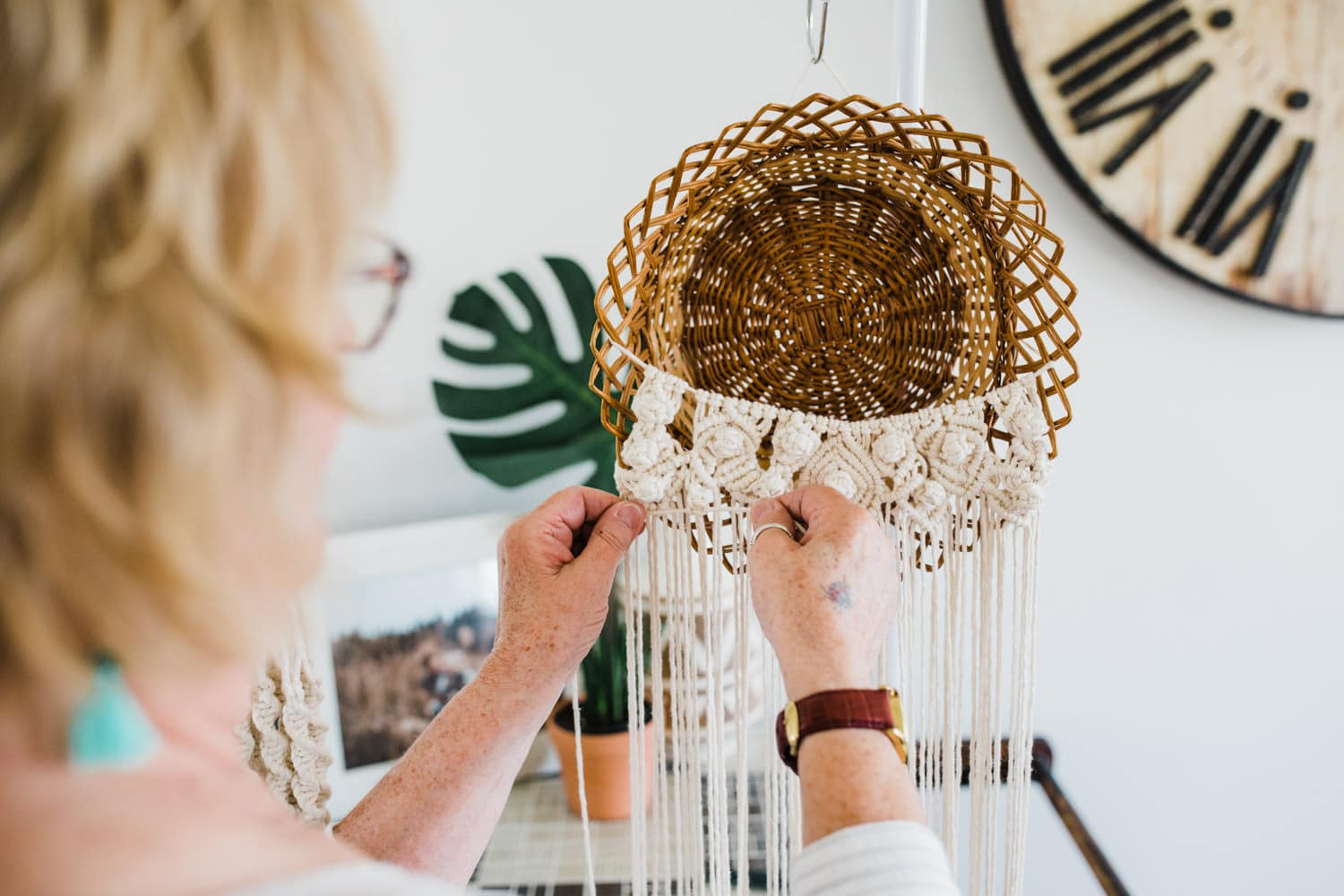 woman works on macrame - small business brand photography