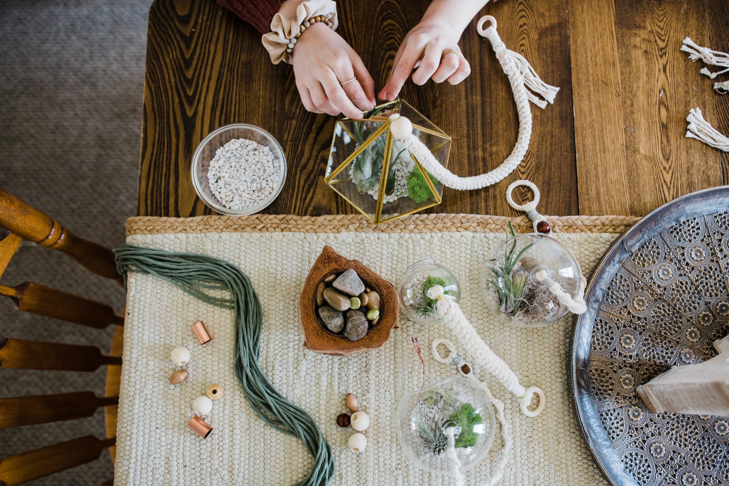 macrame and air plant details - brand photography ottawa