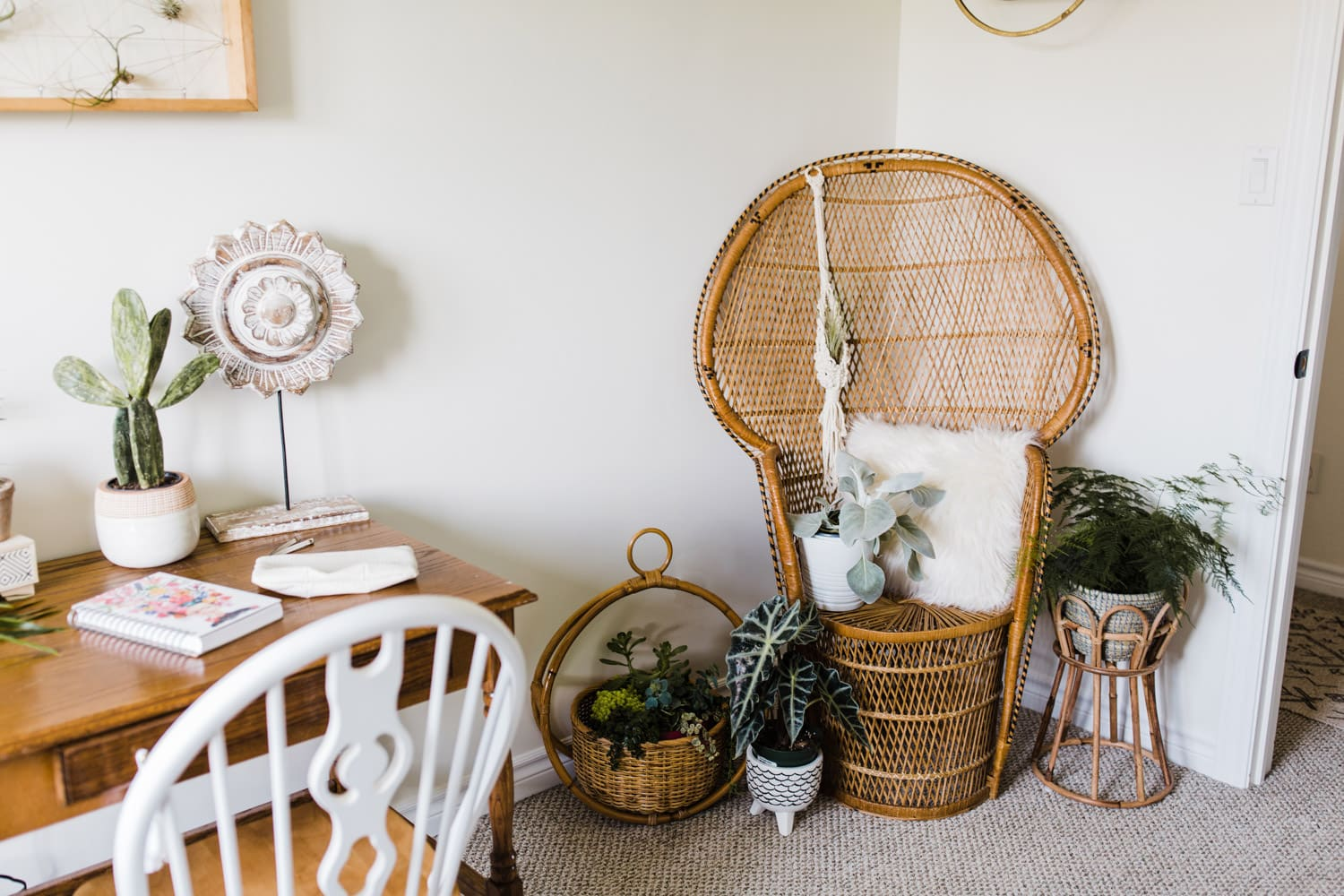 home office with wicker chair