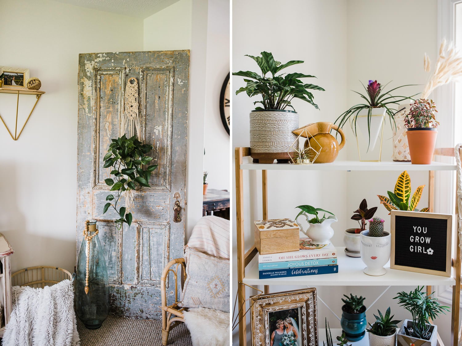home office decor - plants and macrame