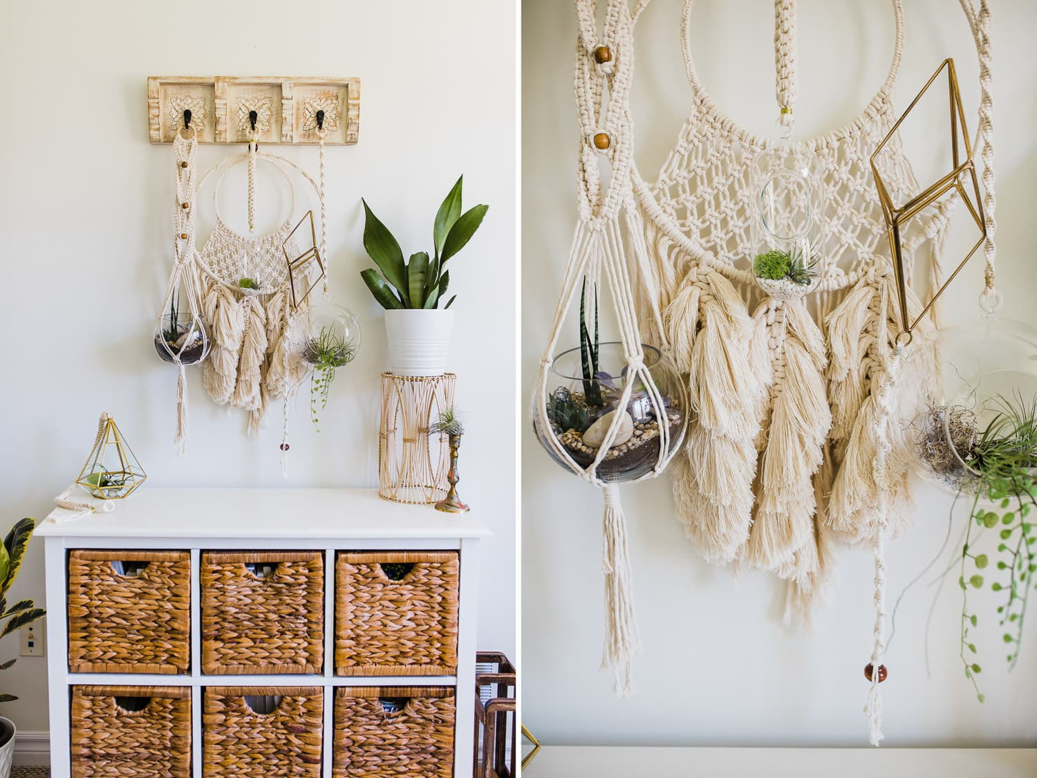 bright home office decor - macrame and plants