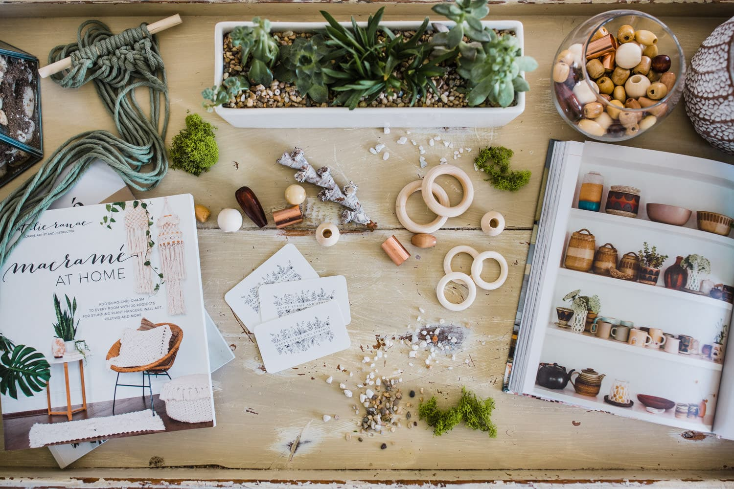 brand photography flat lay - macrame and plants