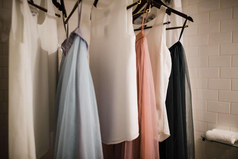 bridemaids dresses hang together