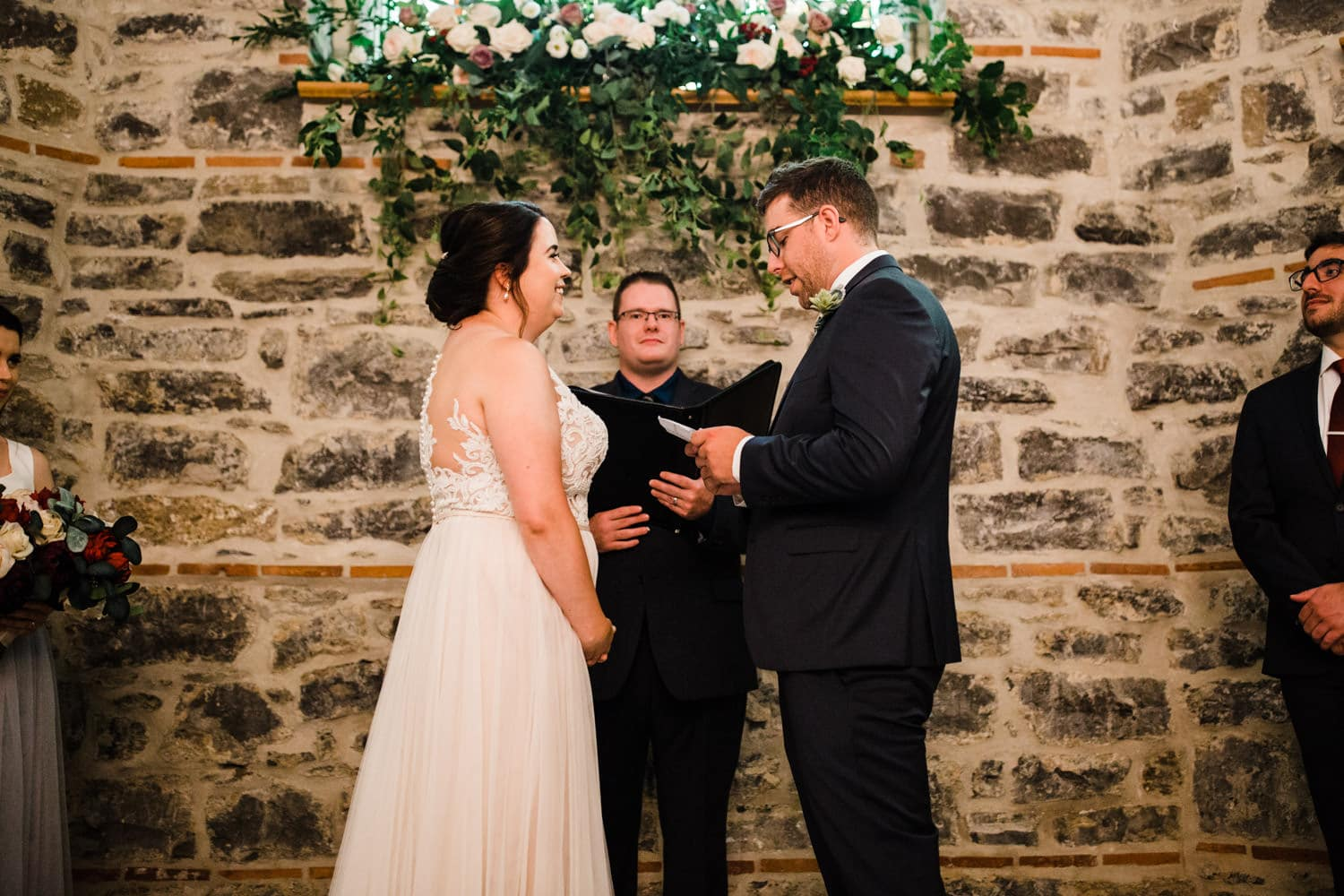 bride and groom exchange vows - downtown ottawa wedding