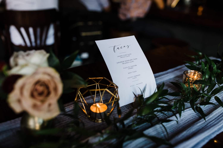 wedding menu - el camino wedding