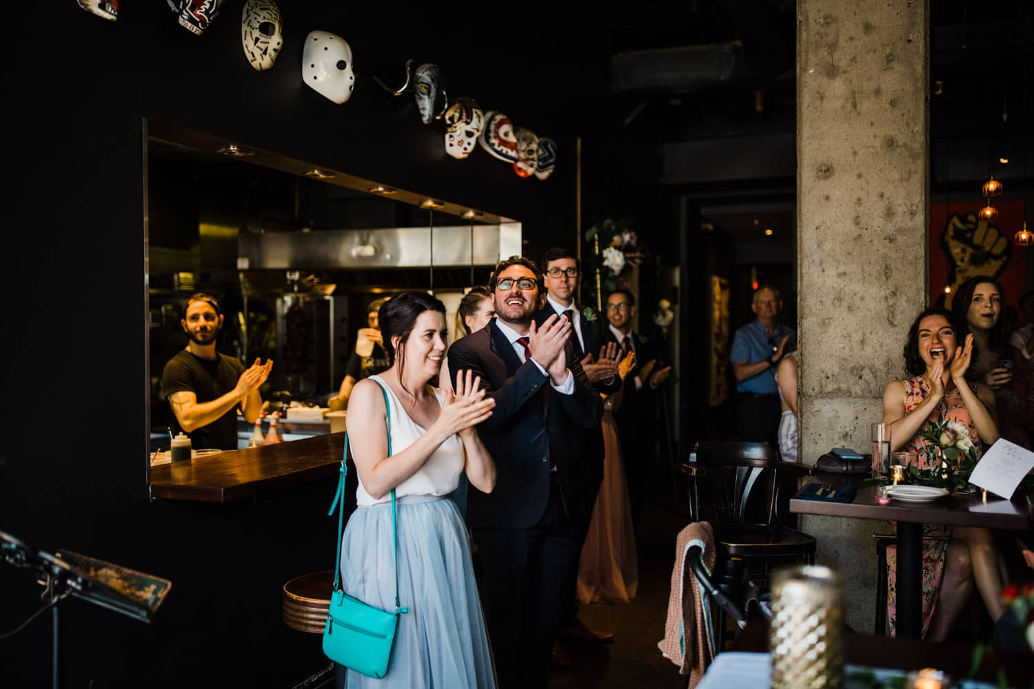 guests cheer for bride and groom - downtown ottawa wedding - el camino