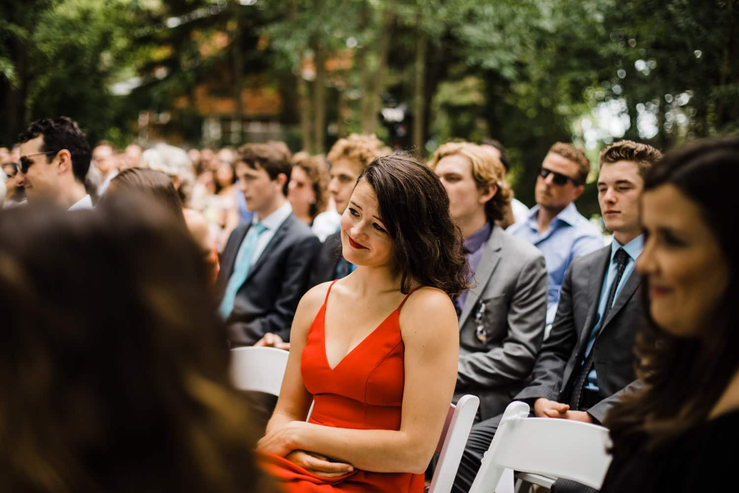 guests react to vows - ottawa backyard wedding