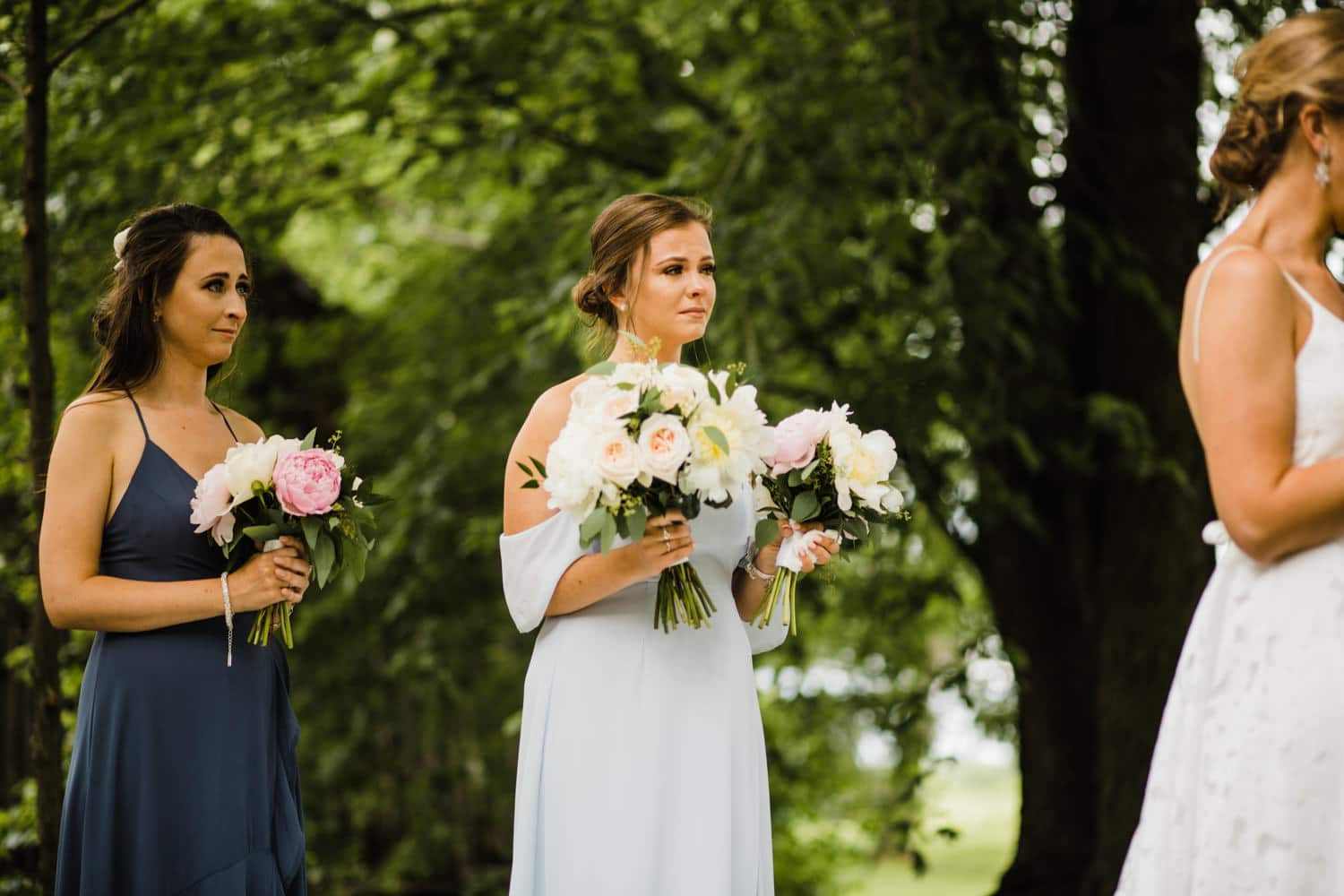 bridesmaid cries during vows - ottawa backyard wedding - carley teresa photography