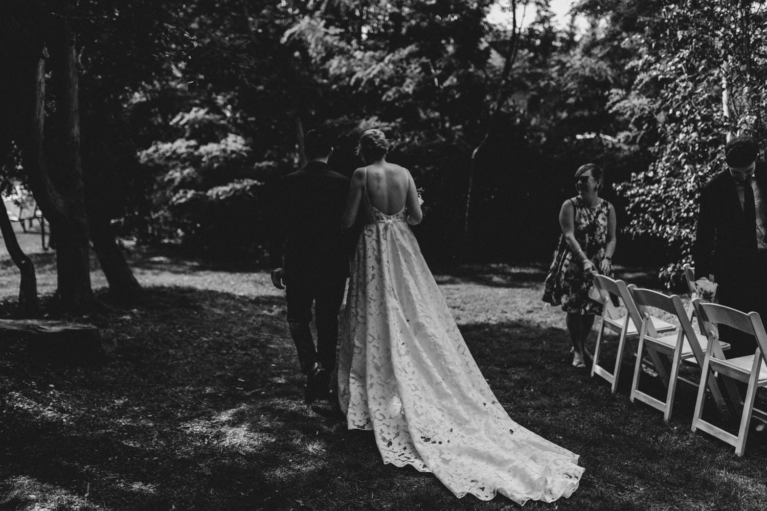 bride and groom recessional - ottawa backyard wedding