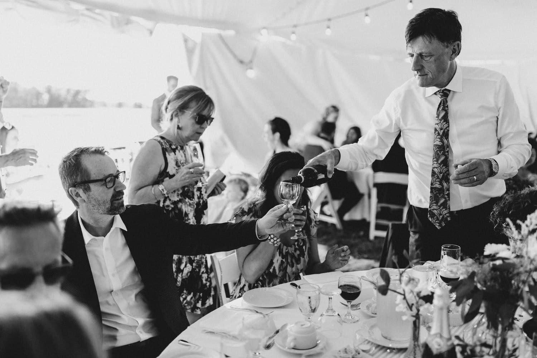 guests pour wine