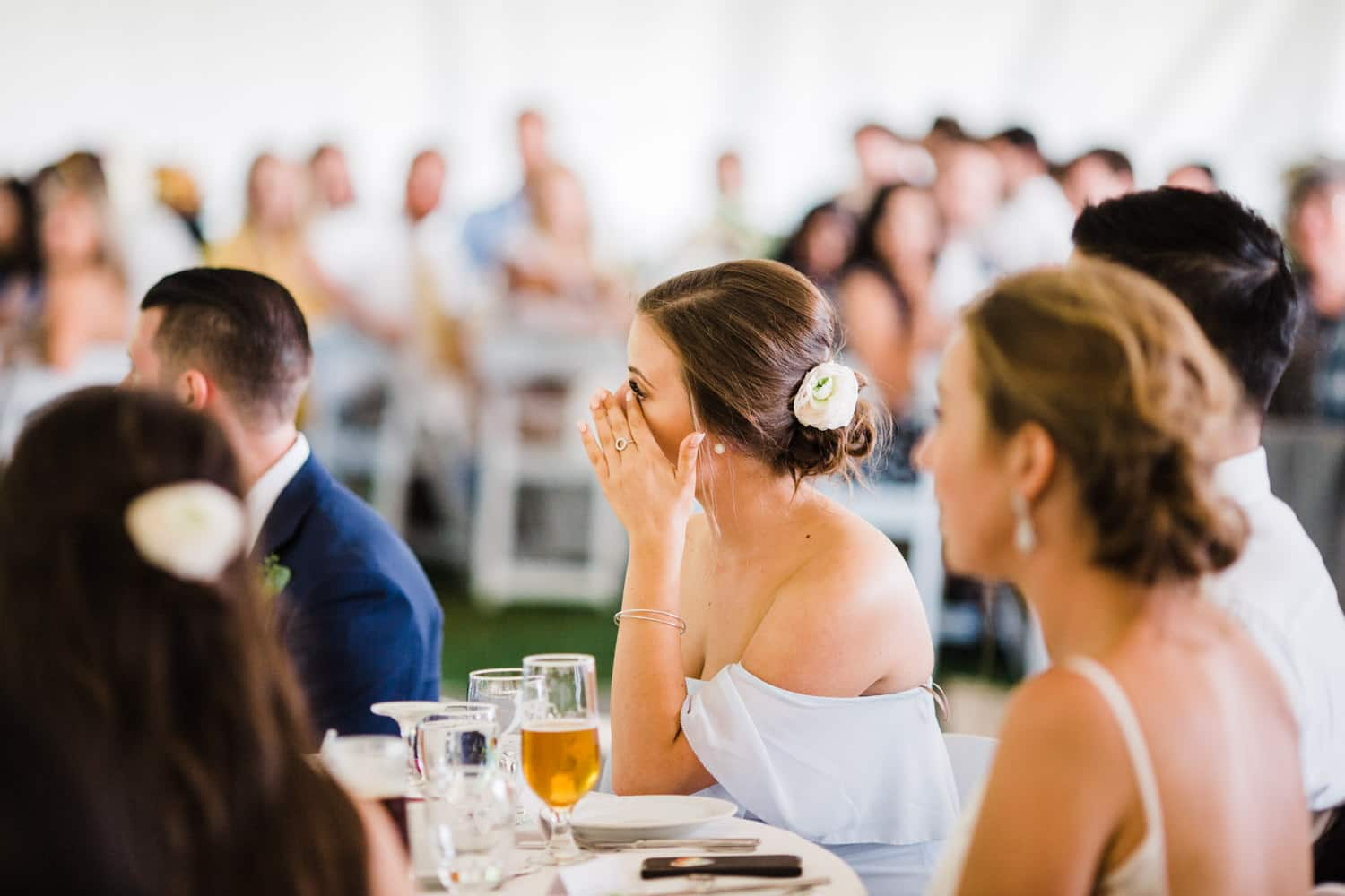 bride's sister reacts to speeches - ottawa backyard wedding