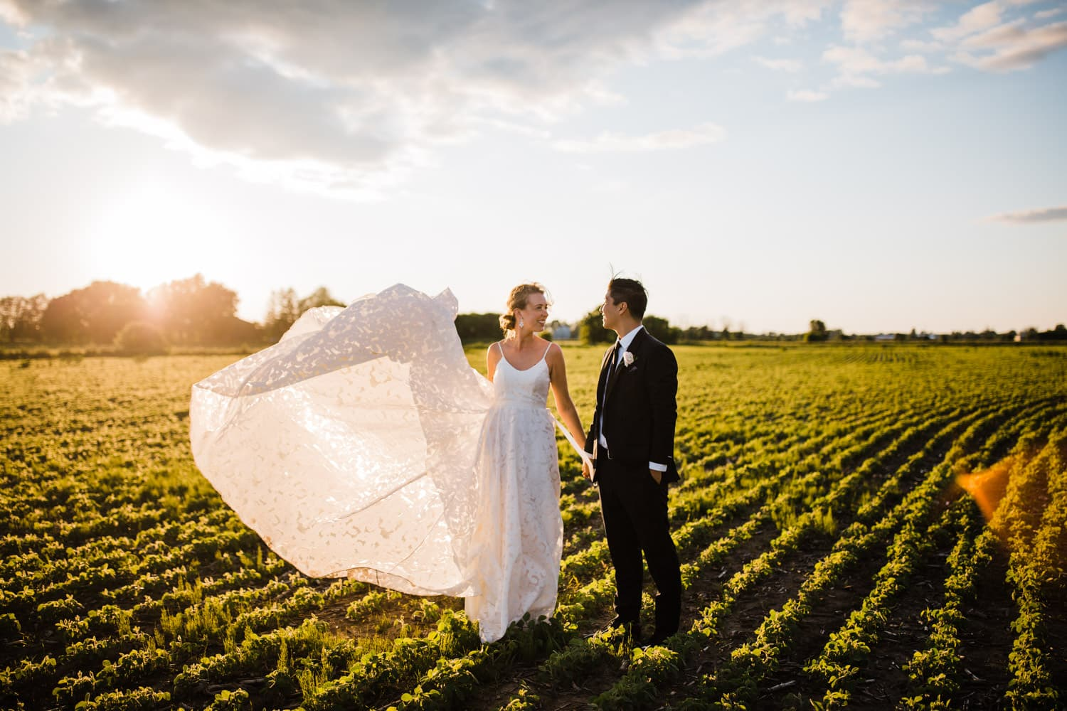 bride throws her dress in the wind in a field - carley teresa photography - ottawa backyard wedding