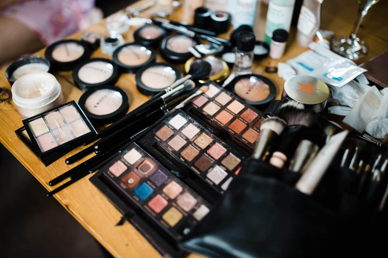 makeup details during bridal prep