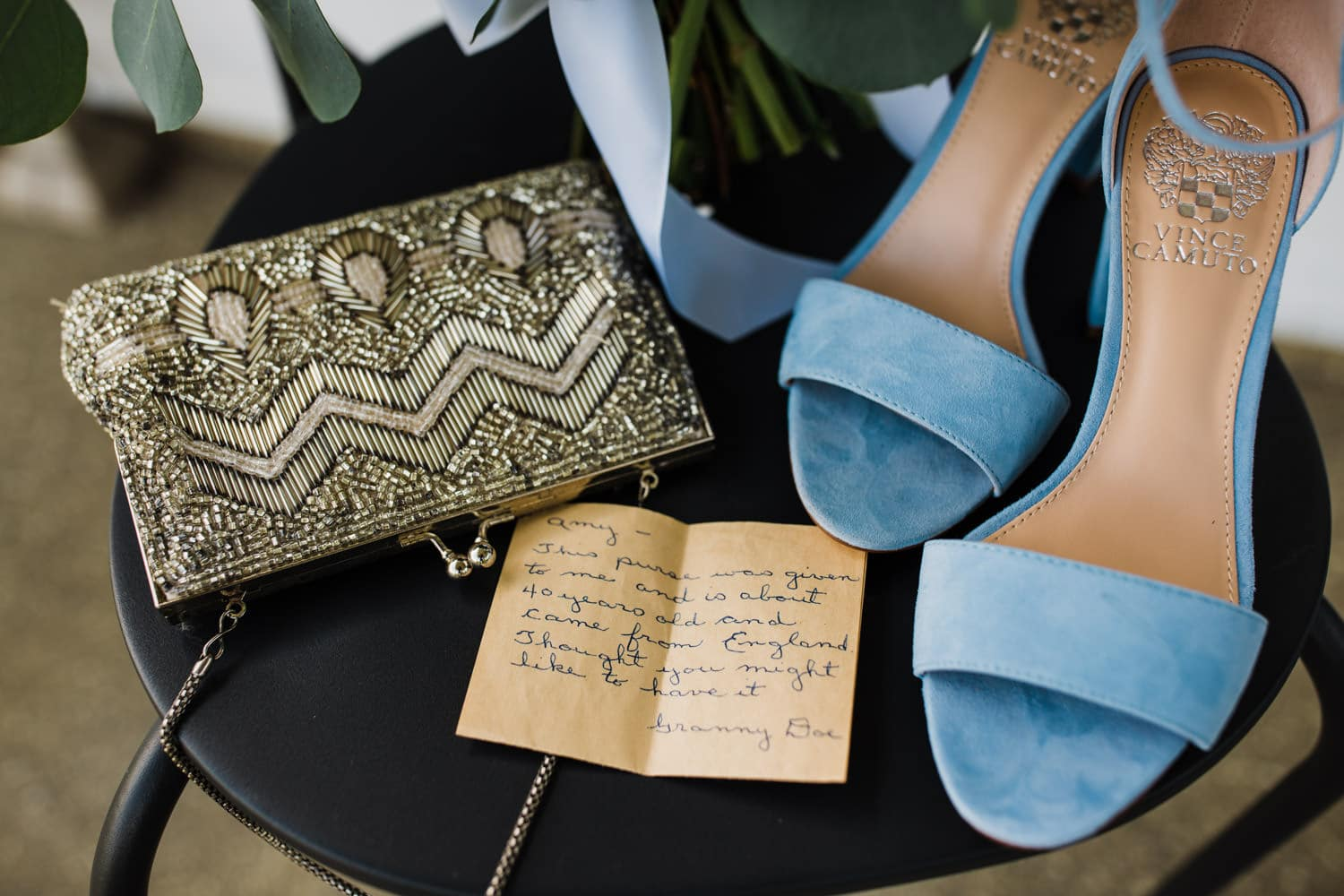 bridal details - vintage purse and letter from grandma