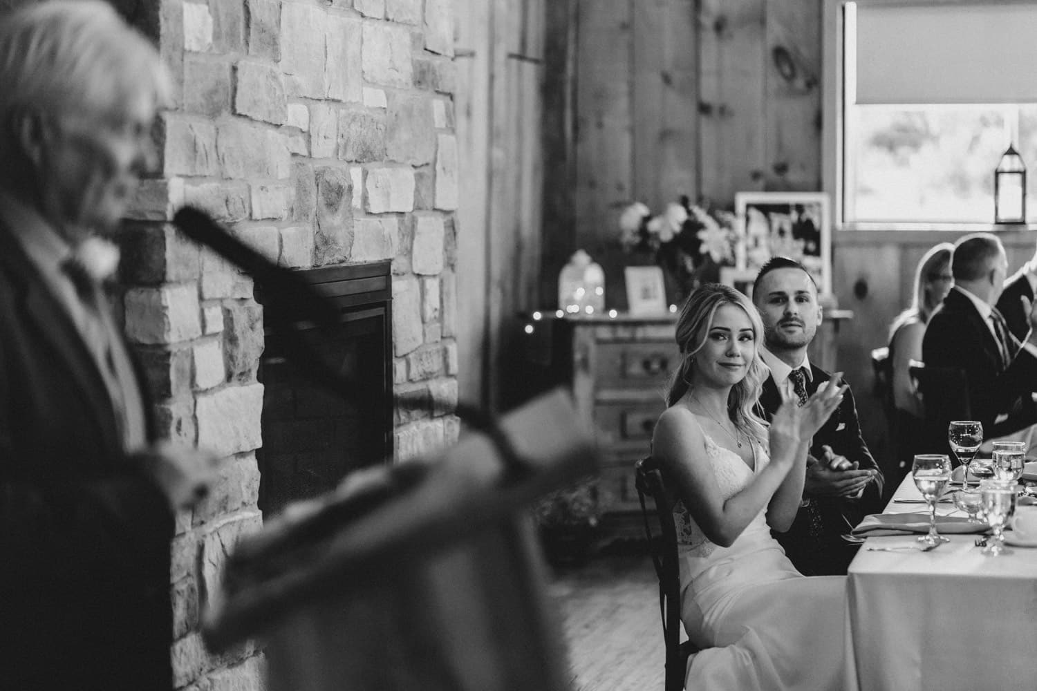 bride and groom react to speeches - summer strathmere wedding