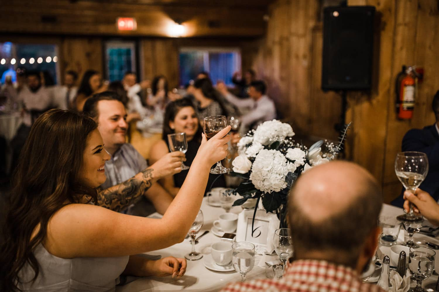 guests react to speeches - summer strathmere wedding