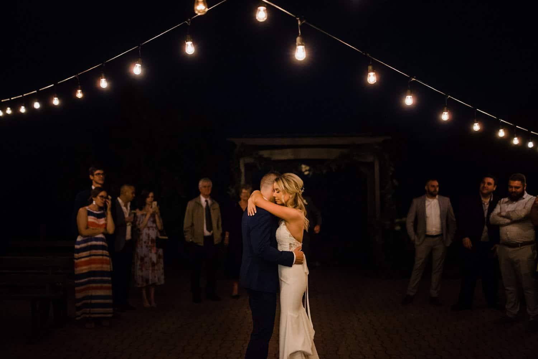 first dance under string lights - summer strathmere wedding