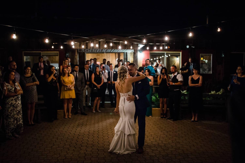 first dance under string lights - summer strathmere wedding - carley teresa photography
