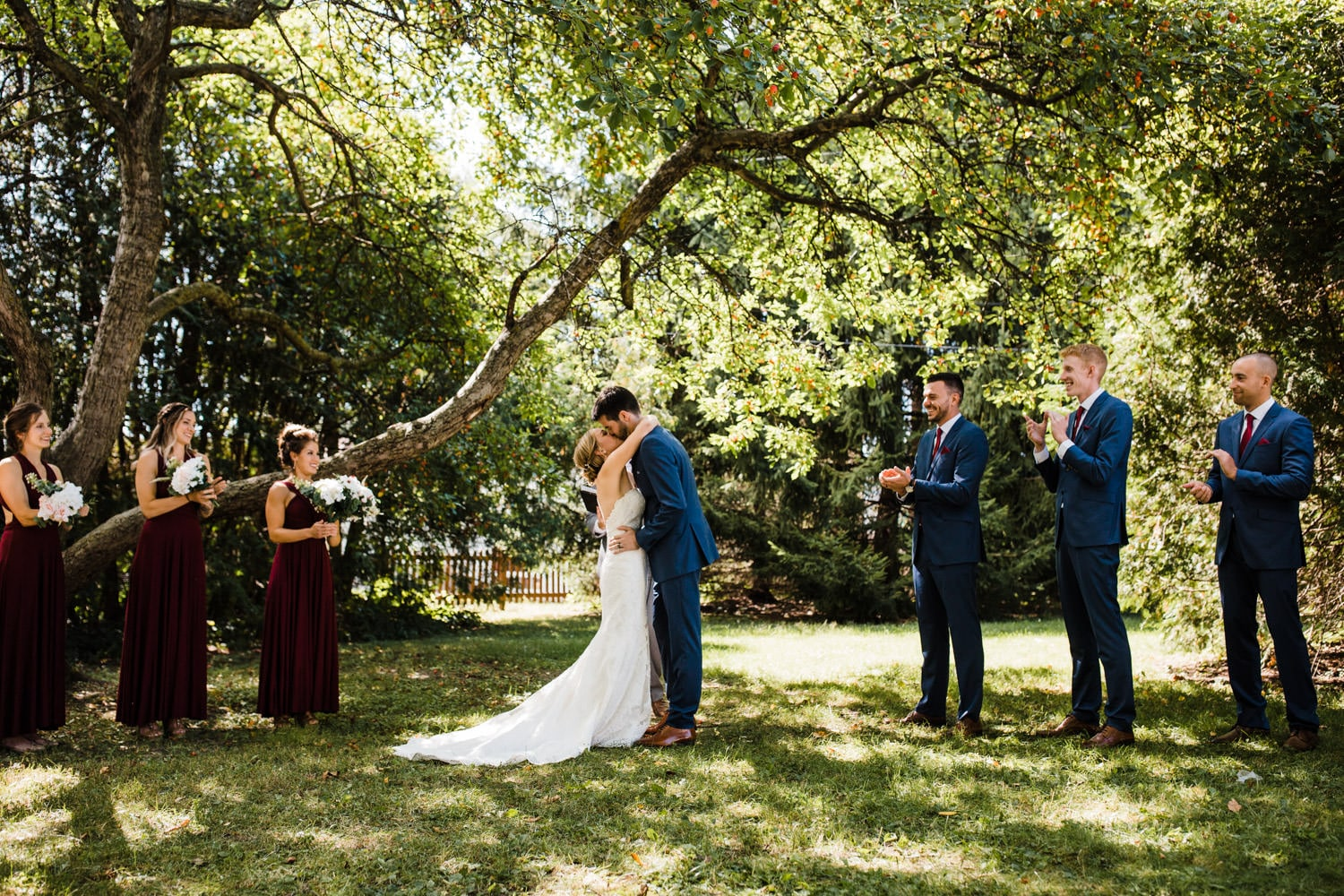first kiss at outdoor fairfield heritage house wedding - glebe community centre wedding