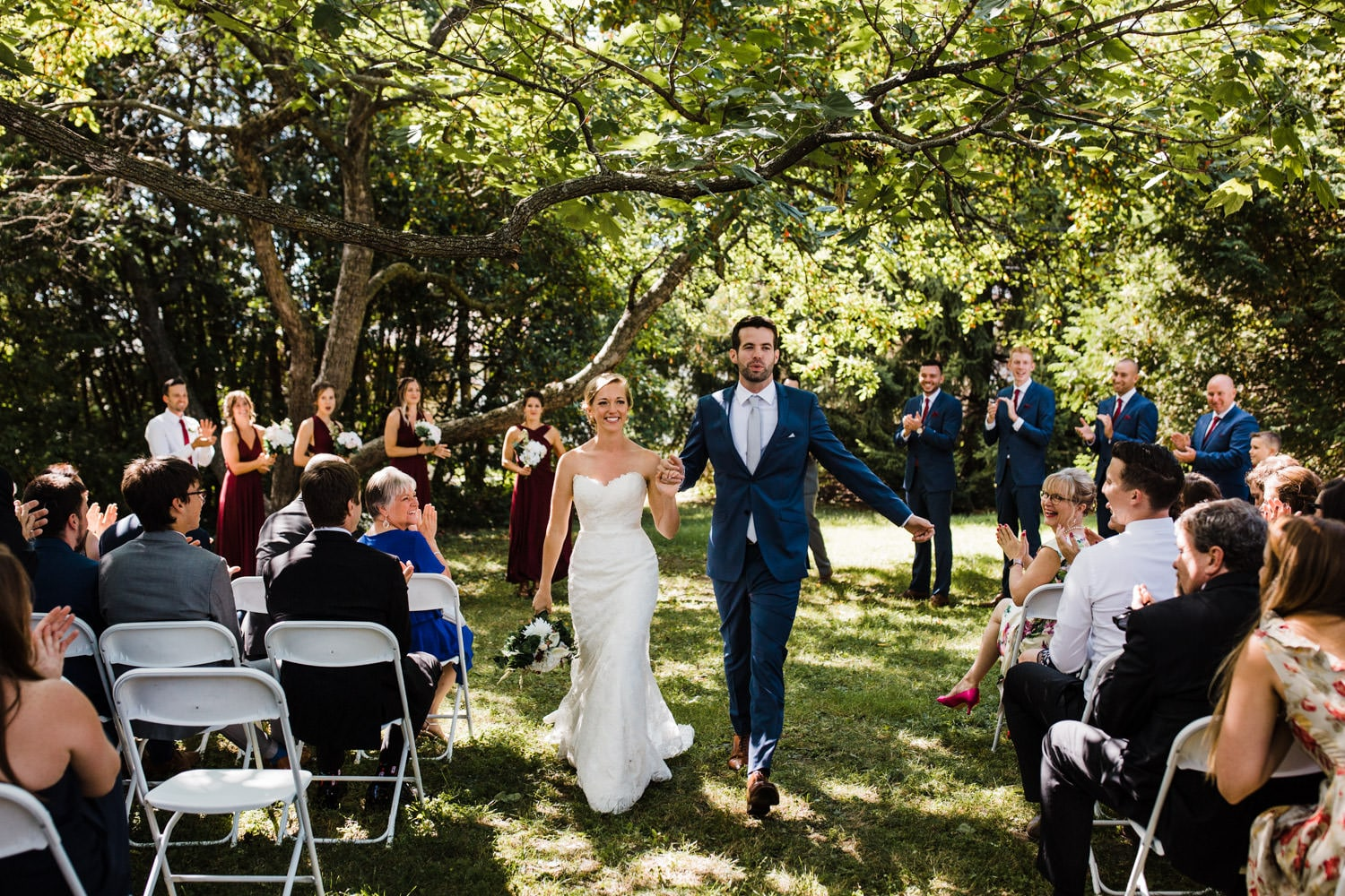 bride and groom recessional - fairfield heritage house wedding - glebe community centre wedding