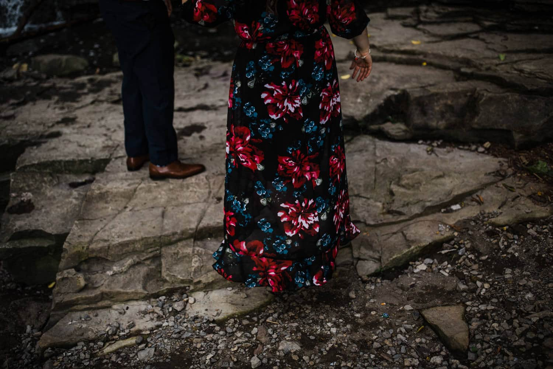 woman's dress flows in breeze