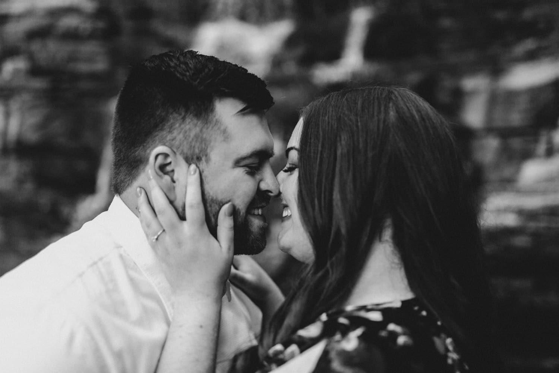 engaged couple embrace during outdoor engagement session - ottawa engagement photographer