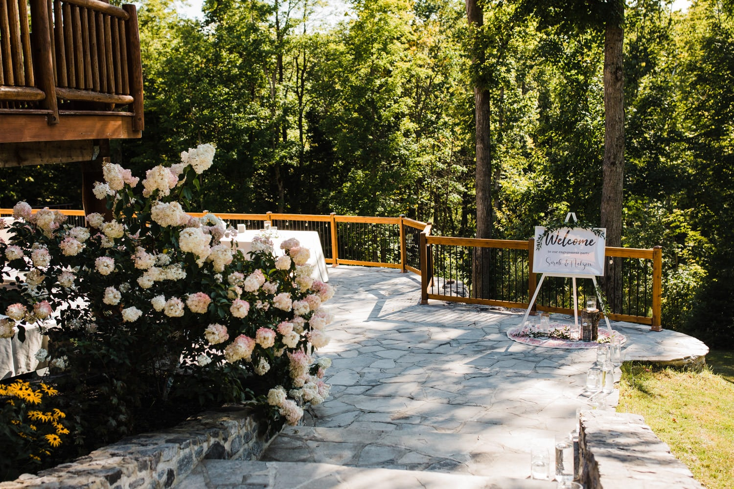 welcome to our wedding sign on stone patio - surprise wedding ottawa