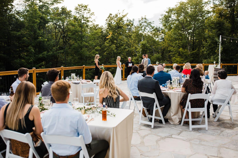 outdoor wedding on stone patio