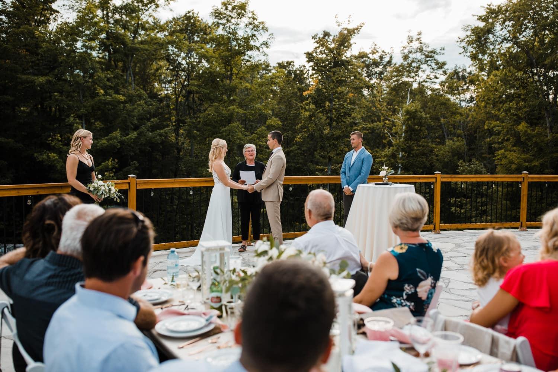 outdoor surprise wedding on stone patio - ottawa
