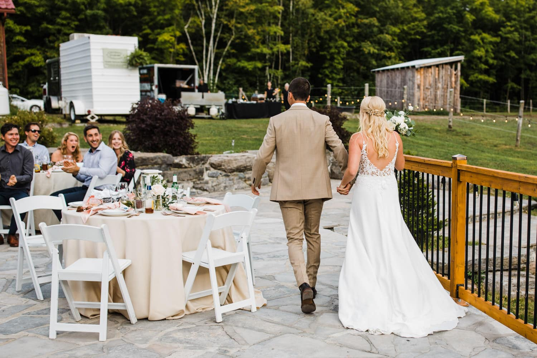 bride and groom recessional - outdoor surprise wedding