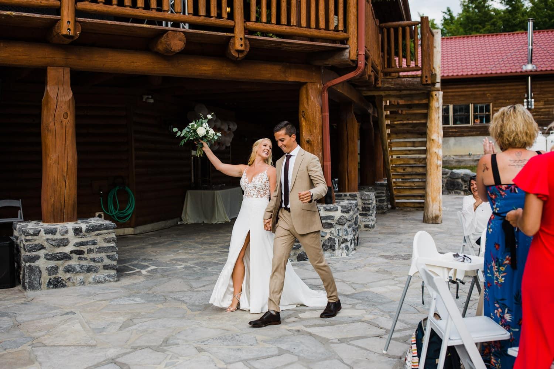 bride and groom recessional - outdoor wedding