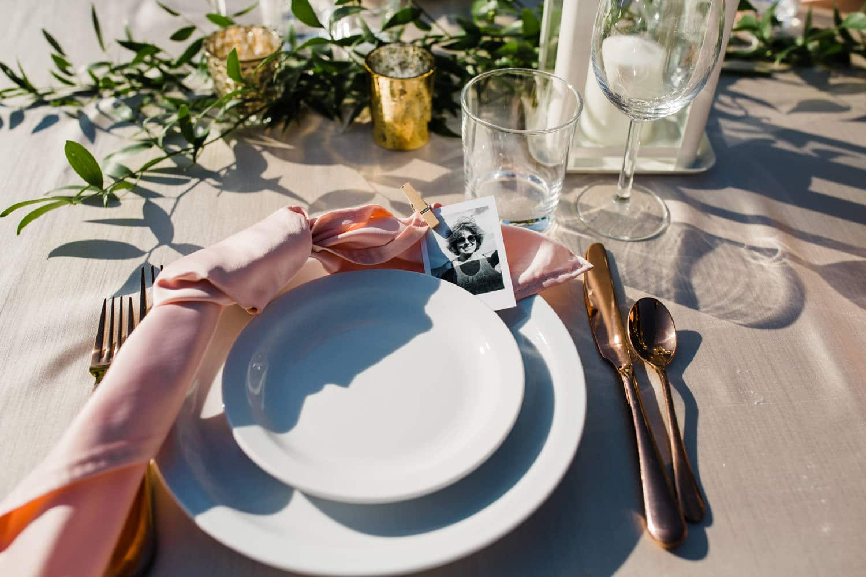 polaroid place settings - surprise wedding ottawa