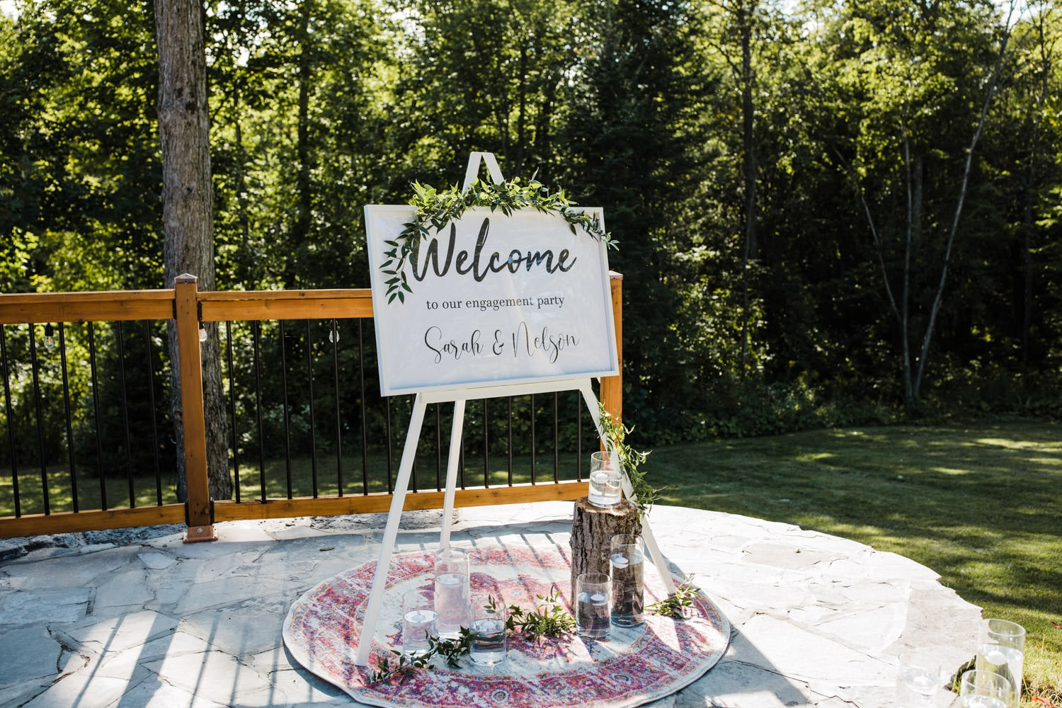 welcome to our wedding sign - surprise wedding on stone patio
