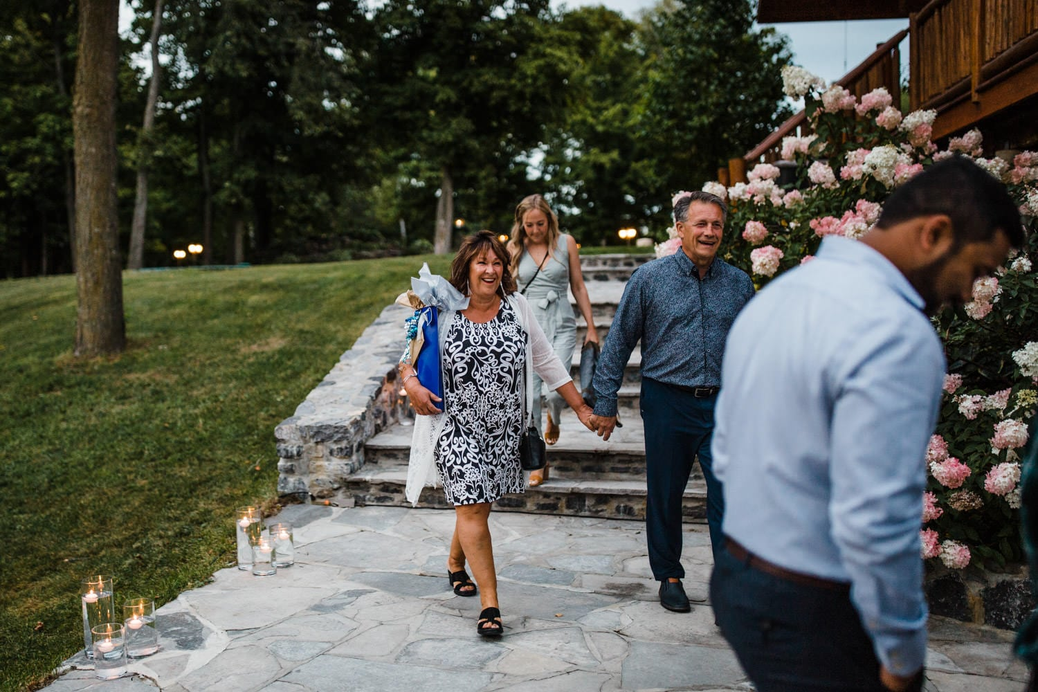guests arrive to wedding reception and look surprised