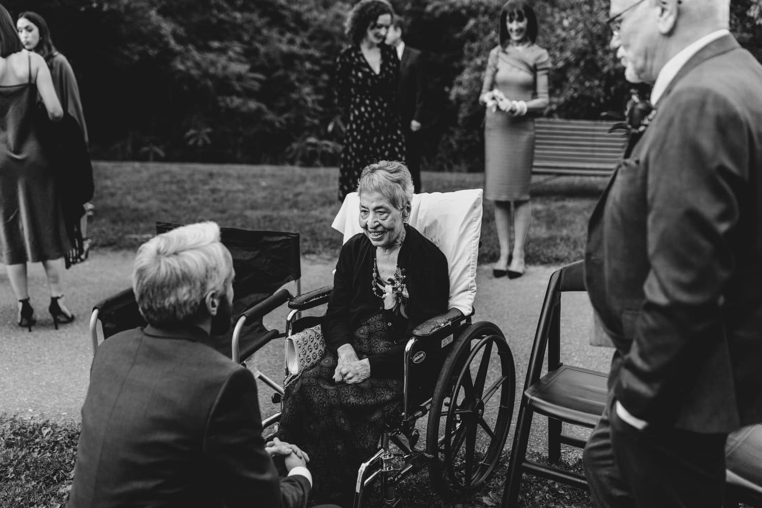 groom greets grandmother - ottawa intimate wedding ceremony