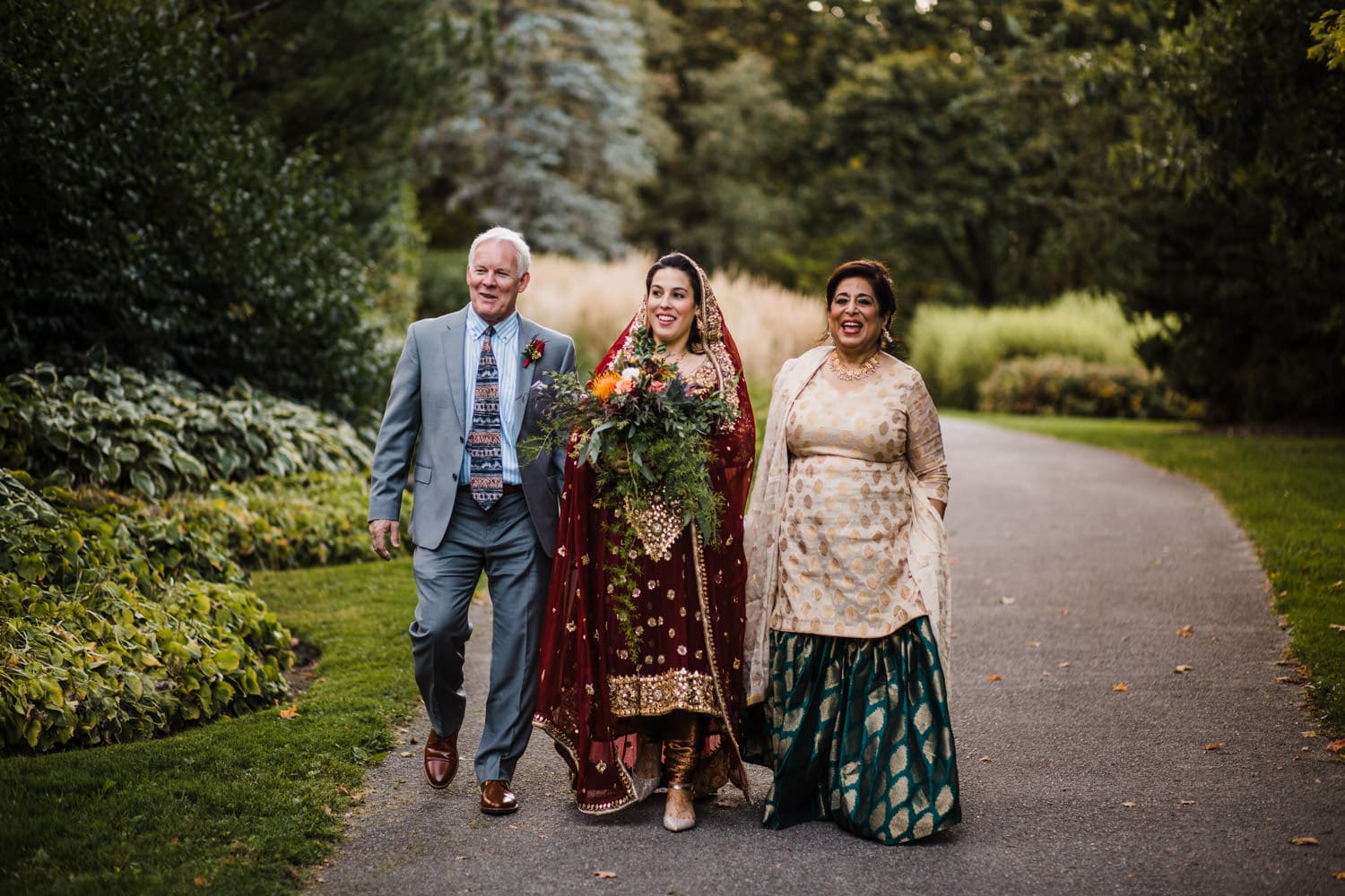 bride arrives to ceremony with parents - rockcliffe park intimate ceremony