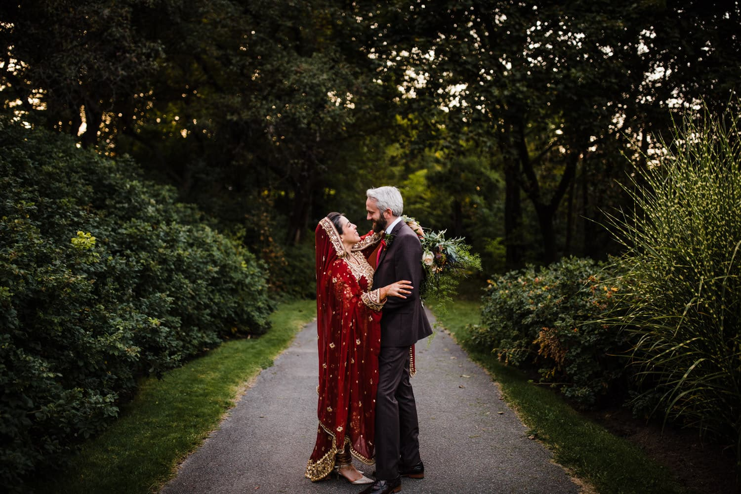 bride and groom in rockcliffe park - ottawa nikah
