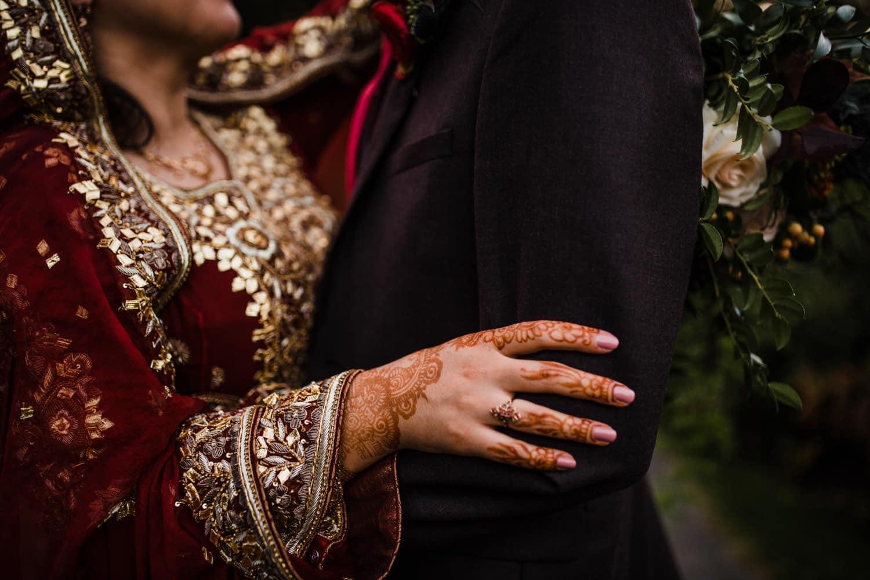 henna details on bride's hand