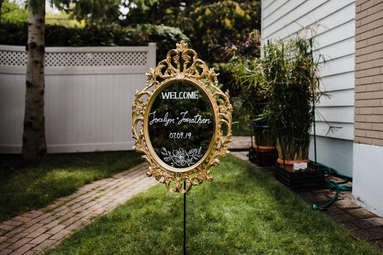 backyard wedding welcome sign