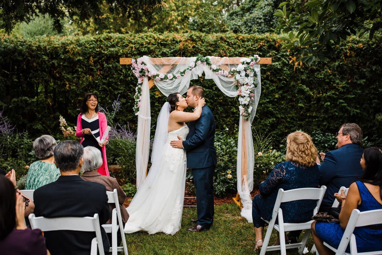 first kiss - backyard wedding ottawa