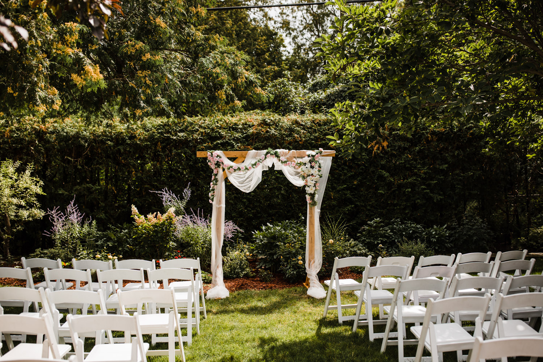 archway at small backyard wedding ottawa