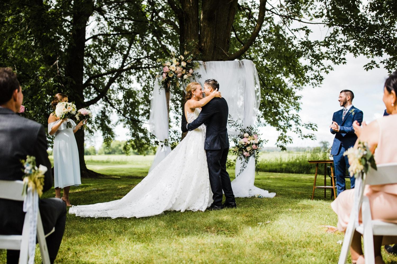 first kiss - ottawa backyard wedding