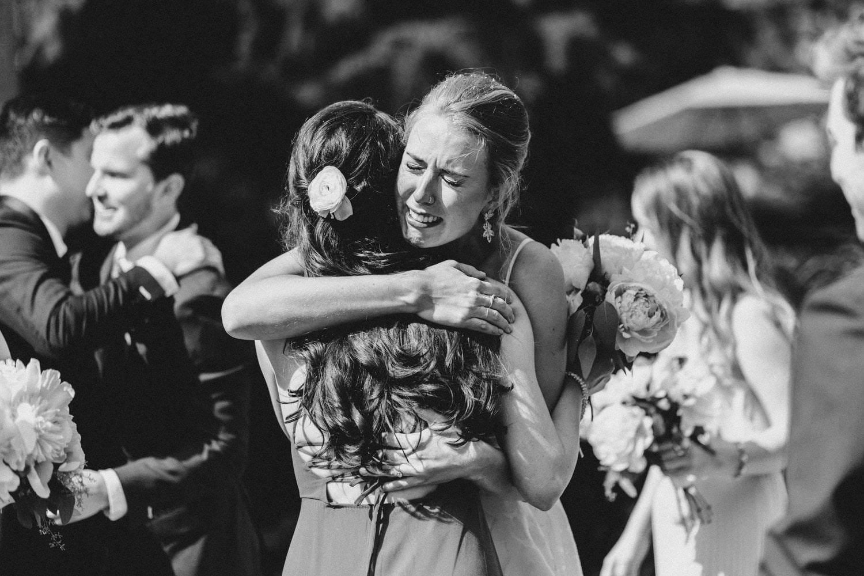 bride cries after ceremony - ottawa backyard wedding