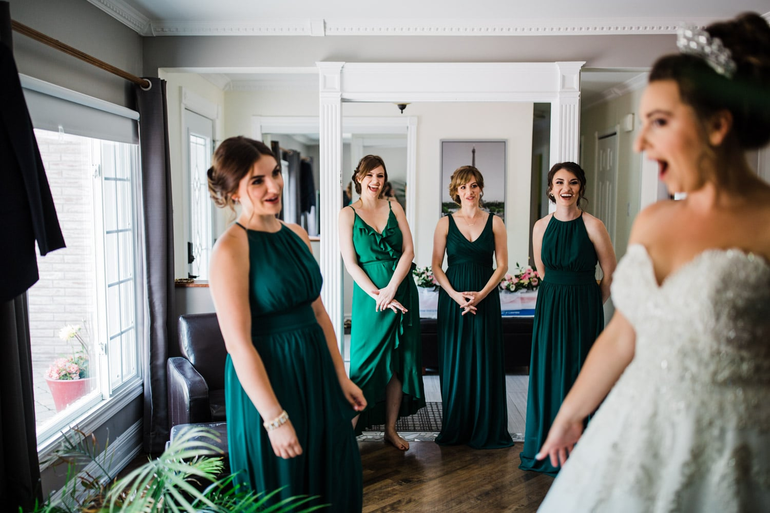 bridesmaids see bride in her gown - ottawa wedding photographer